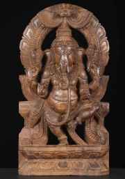 Wood Dancing Ganesh with Mahakala 18