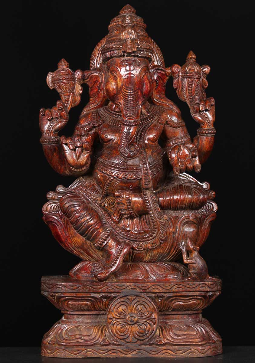 Sold Wooden Ganesh With Mooshika 24 Quot 65w13l Hindu Gods