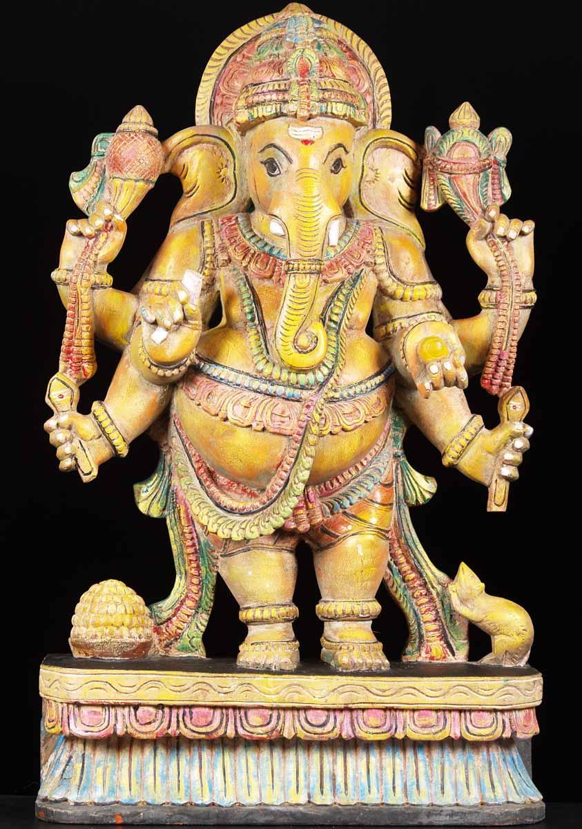 Sold Wooden Standing Ganesha Statue 32 Quot 65w15c Hindu