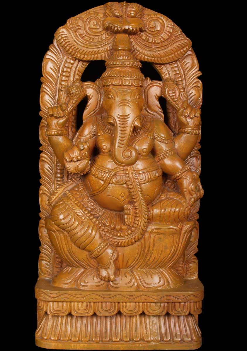 Sold Ganesha Wood Carving With Rat 18 Quot 59w1e Hindu