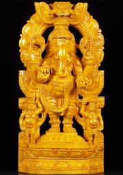 Wood Ganesh Statue with 2 Gana 24