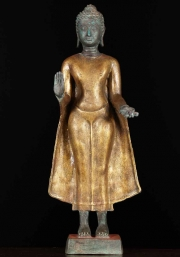 Thai Brass Buddha Wearing Gold Robes 24