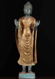 Brass Monday Buddha with Gold Robes 24