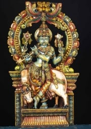 Wood Venugopal Statue with Arch 36