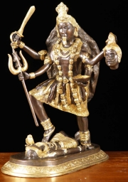 Brass Kali Statue with 10 Arms 17