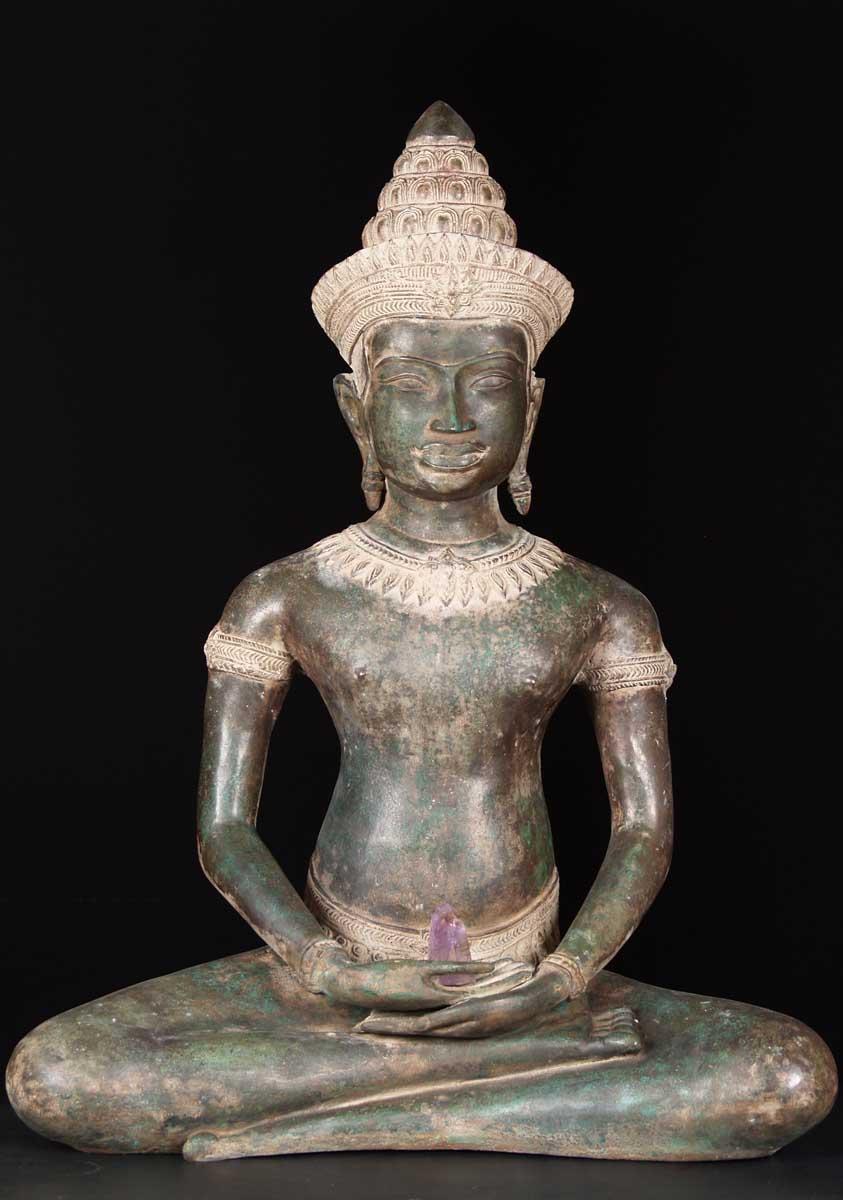 Sold Brass Khmer Buddha Statue 36 Quot 68t5 Hindu Gods