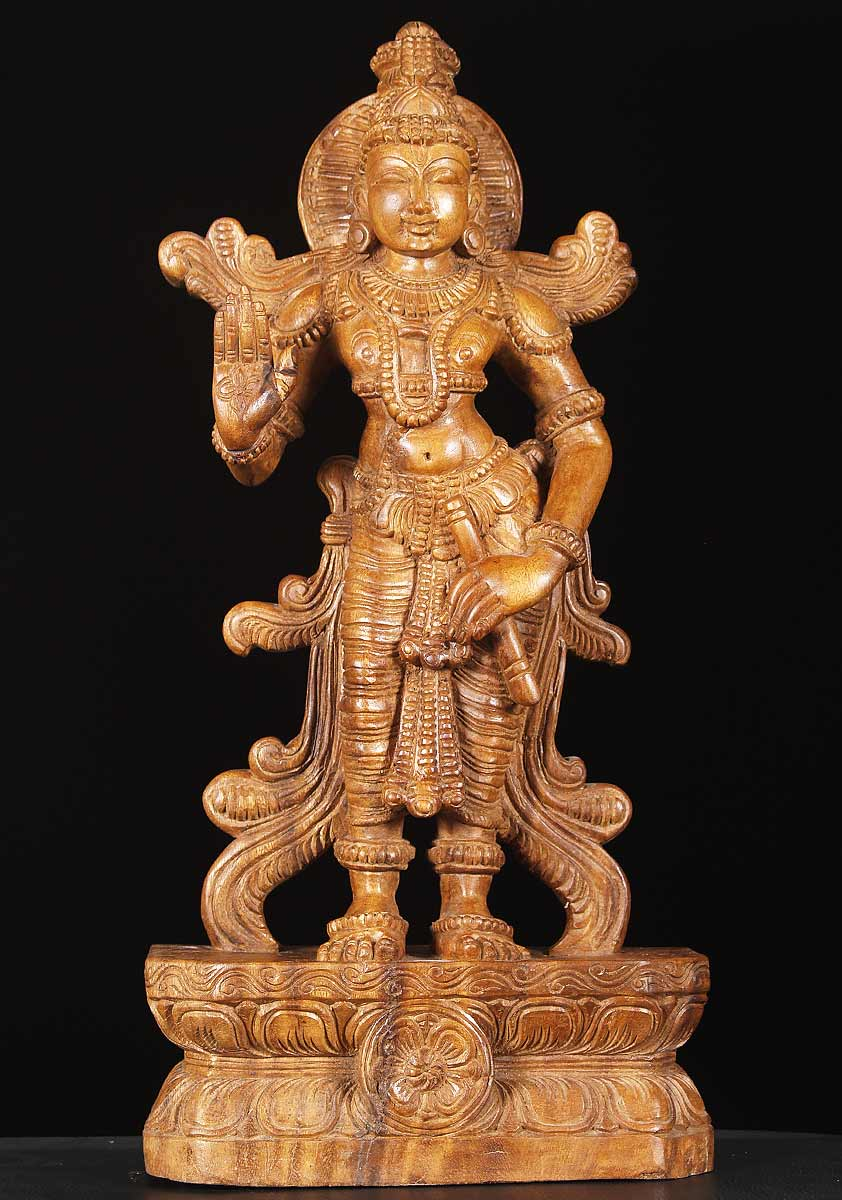 "SOLD Wooden Krishna Statue Holding Flute 24"" (#65w13s ..."