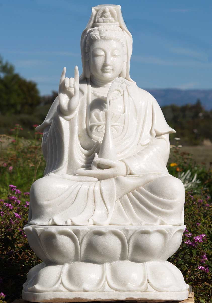 Sold White Marble Kwan Yin Statue 32 Quot 45w101 Hindu