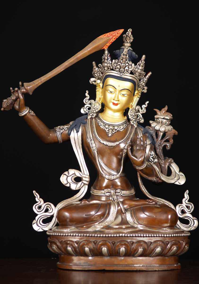 Sold Copper Manjushri Nepali Buddha 13 Quot 61ns22 Hindu