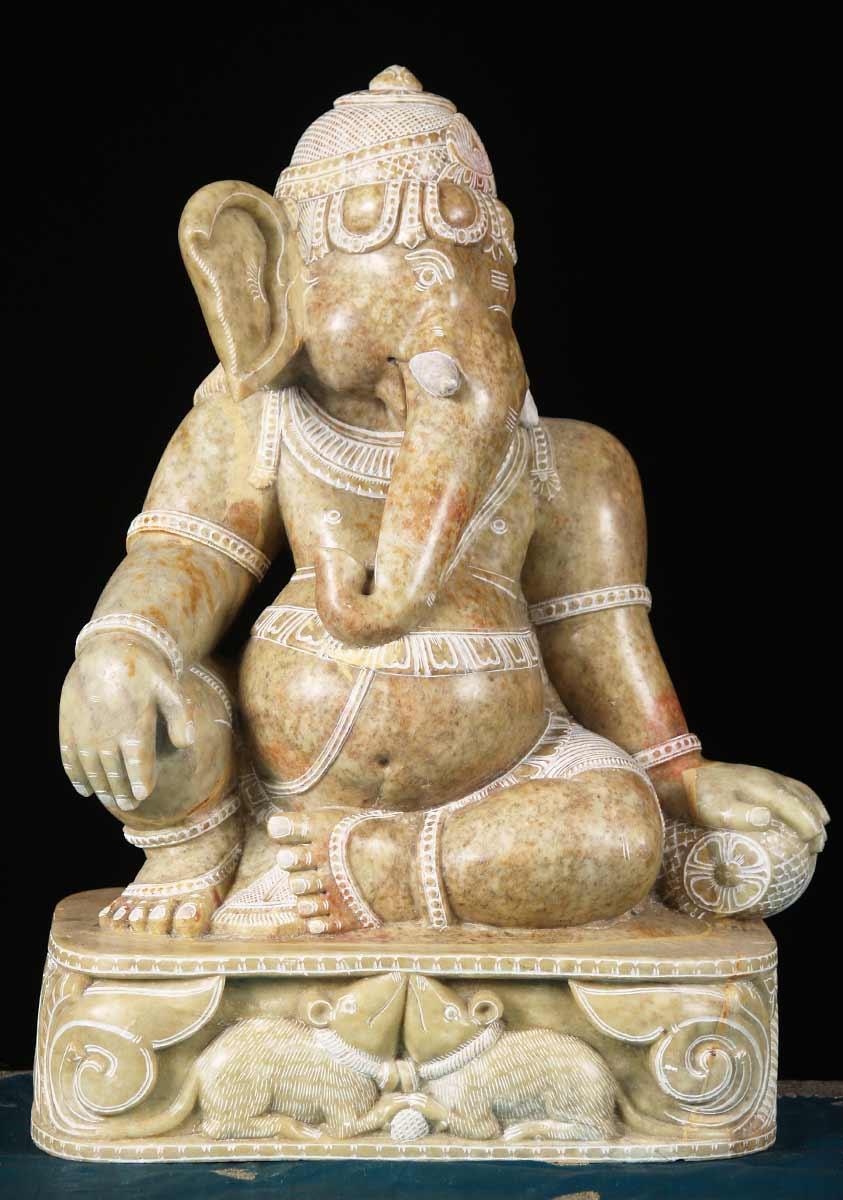 Sold Marble Mooshika Ganesh Statue 17 Quot 65m18 Hindu