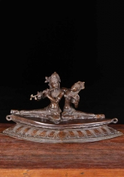 Brass Seated Radha  Krishna Statue 24