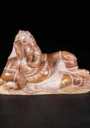 Red Marble Laying Ganesh Statue 20