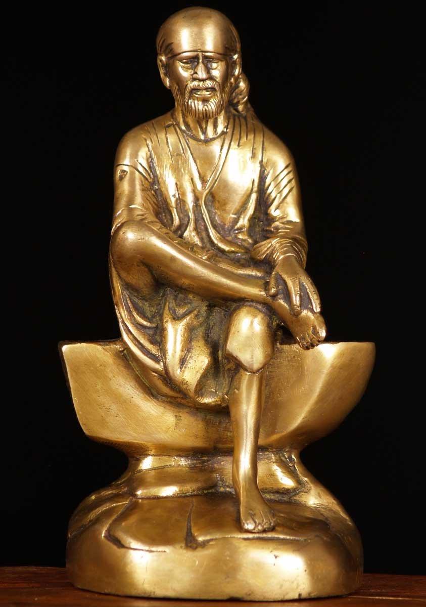 "Brass Sai Baba of Shirdi Statue 9"" (#61bs47z): Hindu Gods"
