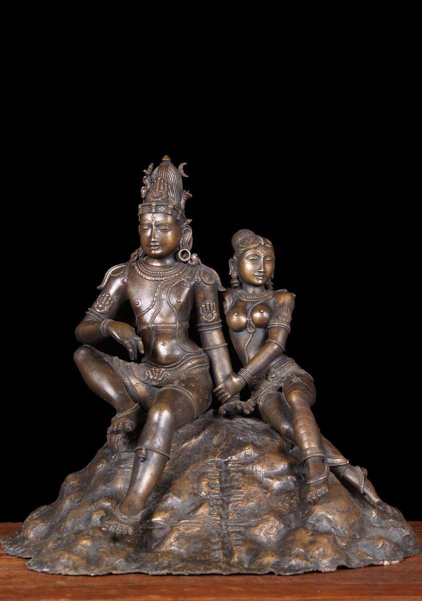 sold bronze shiva parvati on mnt kailash 18quot 64b51