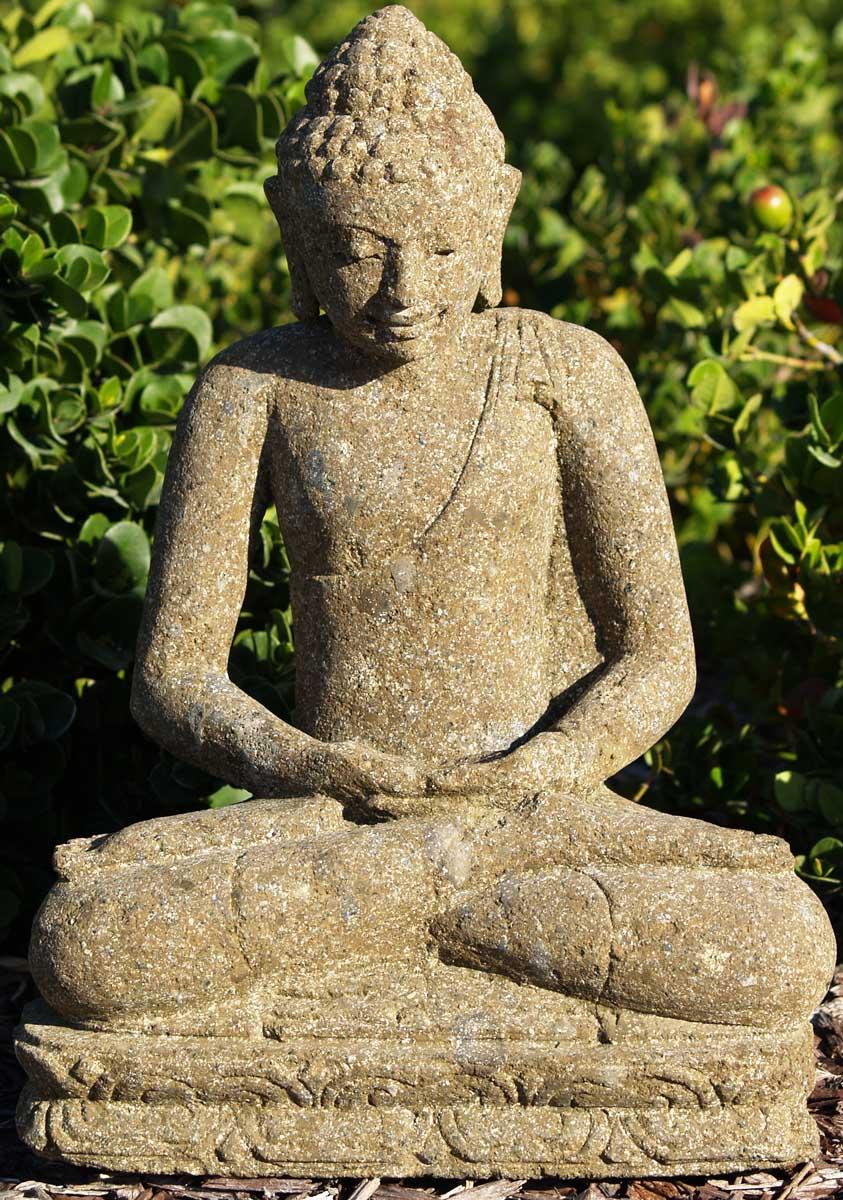 SOLD Stone Small Garden Buddha Statue 15u0026quot; (#69ls99) Hindu Gods U0026 Buddha Statues