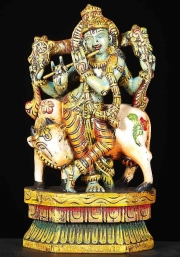 Wood Small Venugopal with Cow Statue 12