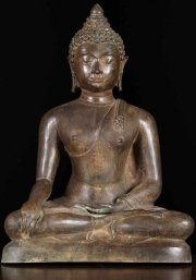 Thai Brass Earth Touching Buddha 21