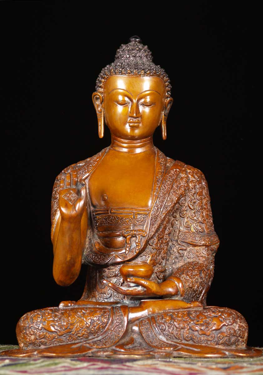 "SOLD Brass Buddha in Vitarka Mudra 14"" (#61bs20d): Hindu ..."