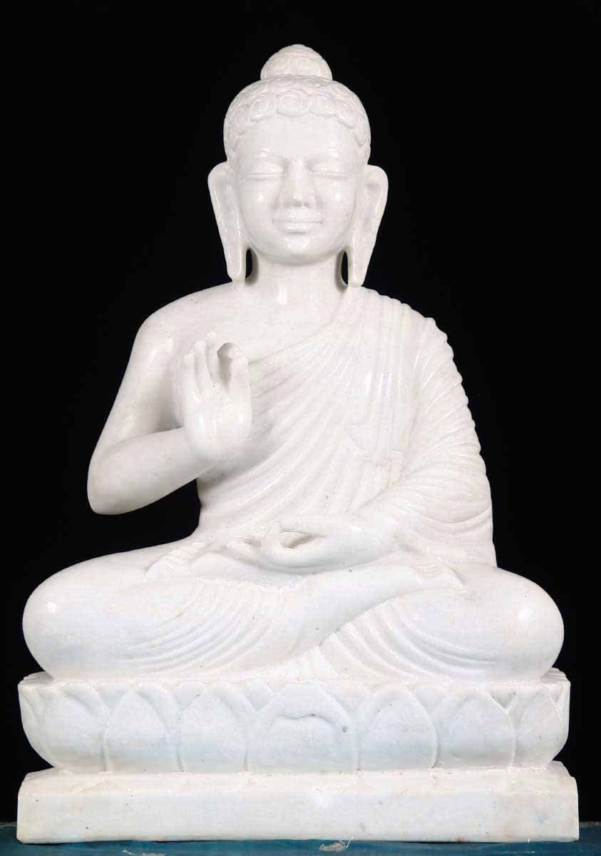 Sold White Marble Indian Buddha Statue 24 Quot 65m1 Hindu