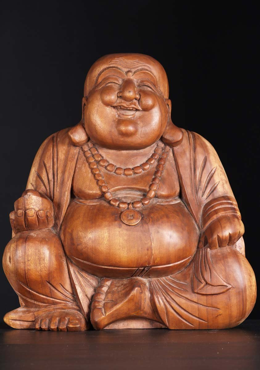 Sold Wooden Fat Happy Buddha Of Wealth 20 Quot 3bw3 Hindu