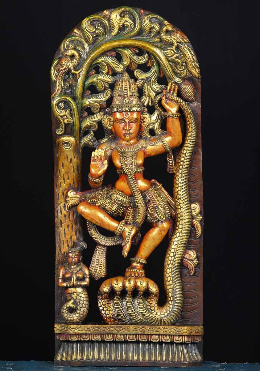 Sold Wood Kalinga Krishna Statue 36 Quot 65w15g Hindu Gods