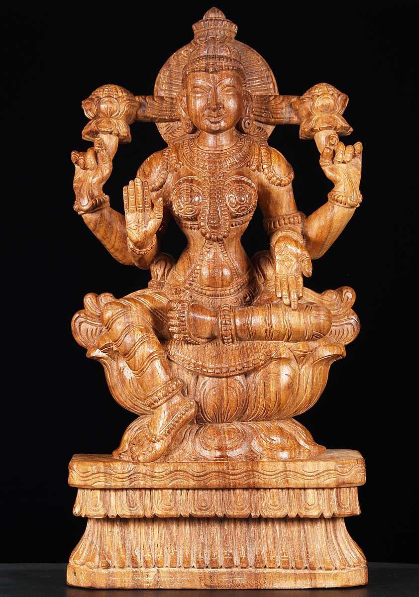 sold wood hindu goddess statue lakshmi 24quot 65w13t