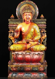 Wood Painted Buddha Statue 36