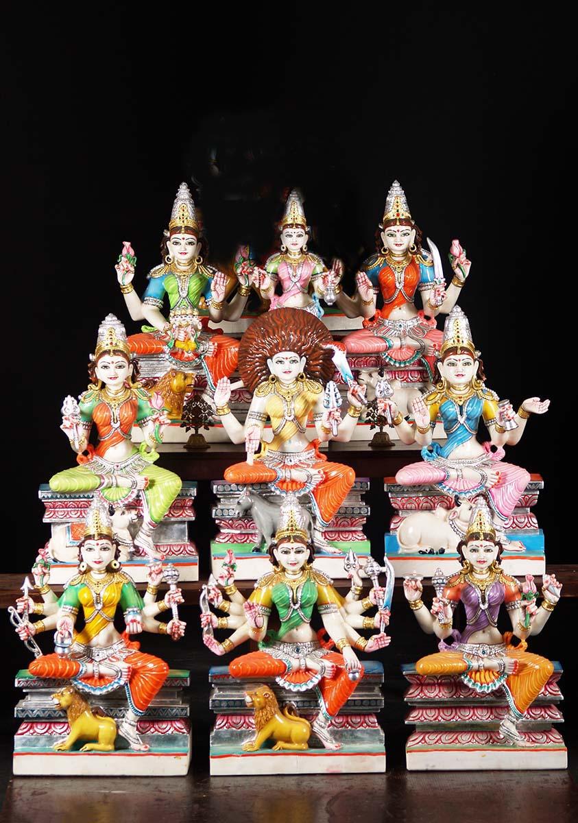White Marble Nava Durga Statue Set 24 Quot 71wm58 Hindu