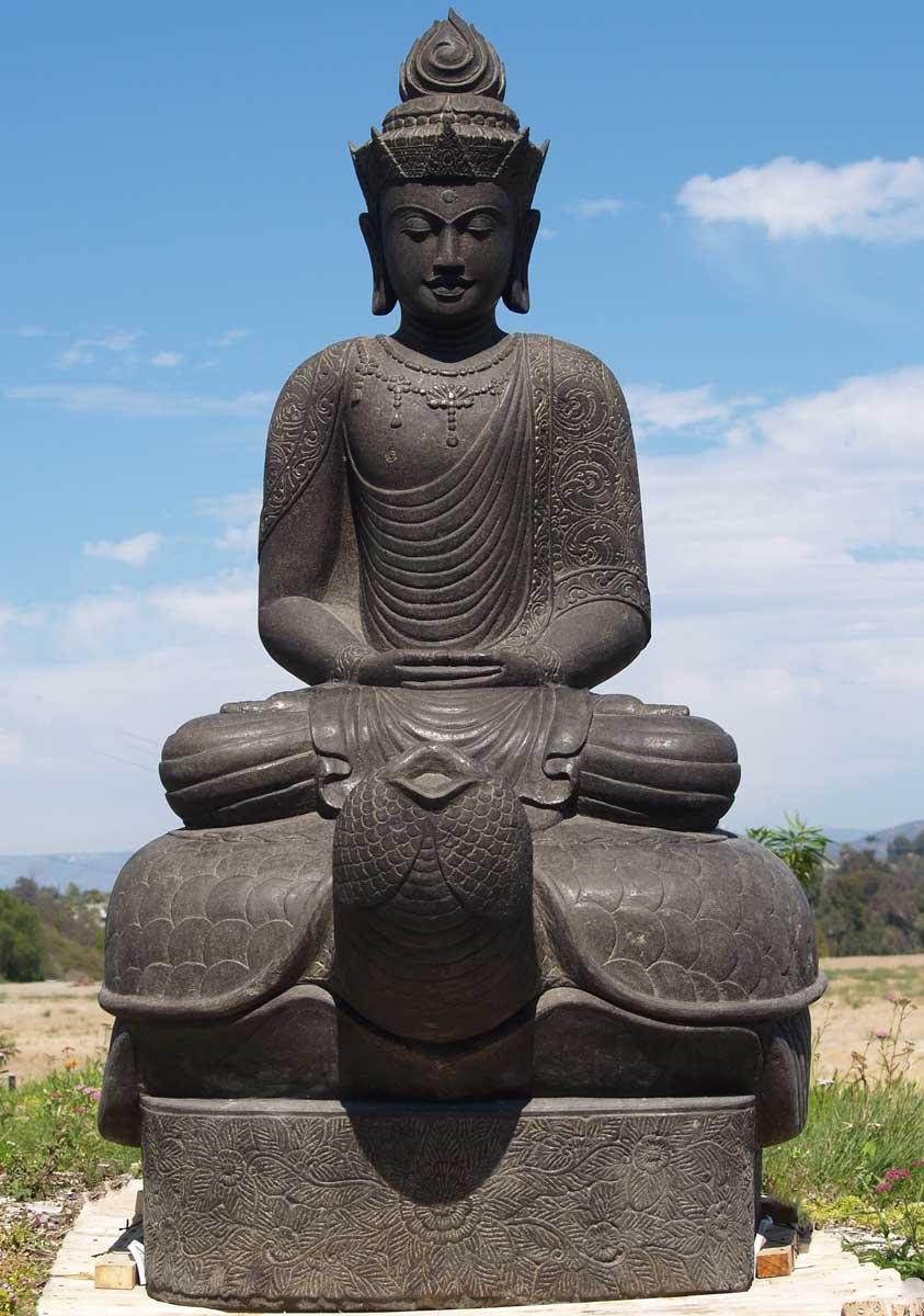 Large stone buddha statue meditating on turtle 78 for Outdoor buddha
