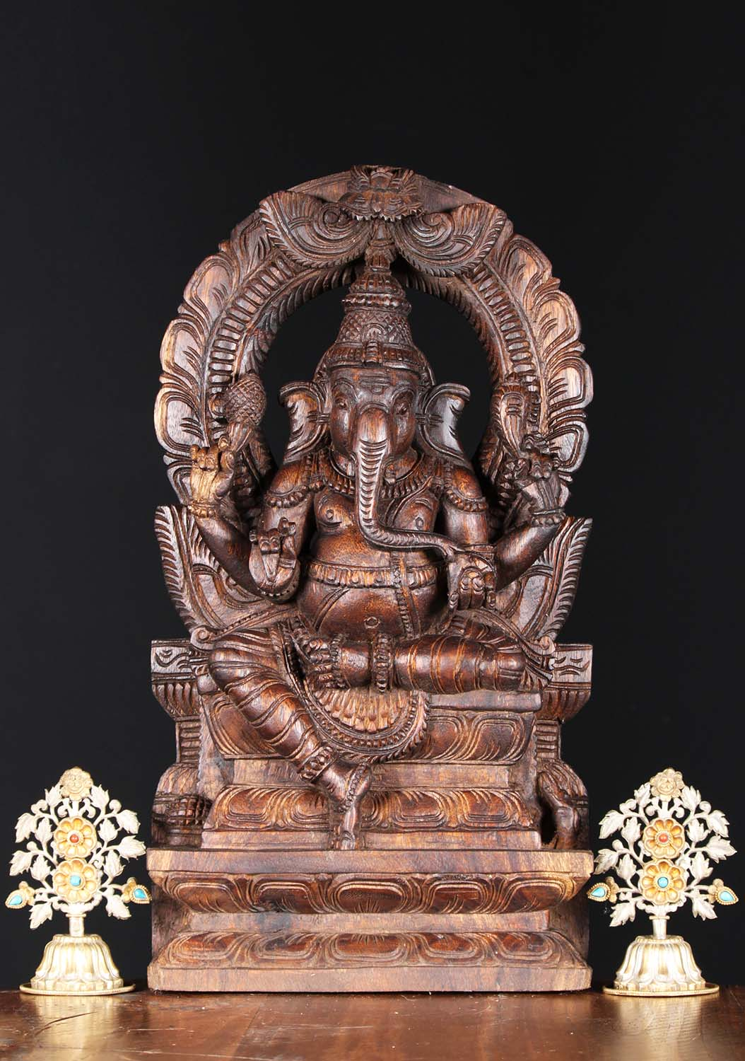 Sold wooden ganesh carving with arch quot w ee hindu