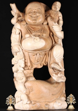 Wood Fat & Happy Buddha With Children Statue 36