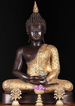 Brass Meditating Buddha with Brocade Robes 29