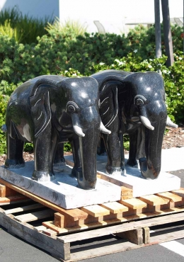 Polished Black Granite Elephant Statue 26