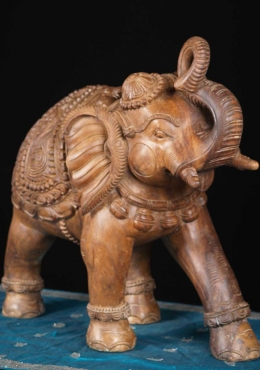 Wood Elephant with Trunk Raised for Good Luck 23