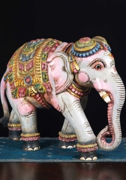 Wooden Painted Elephant Sculpture 24