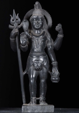 Marble Standing Shiva Statue Holding Trident 16