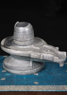 Black Marble Lingam with Cobras 12