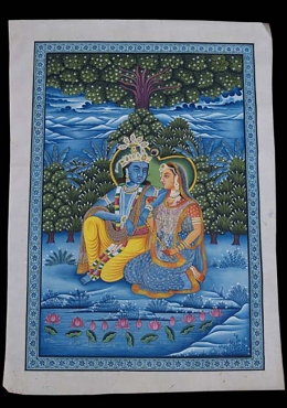 Painting Krishna with Radha Holding Flute 32