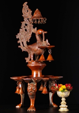Brass Deepam Peacock Lamp 25