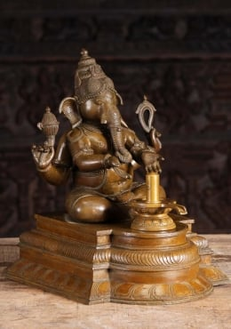 STATUE OF THE DAY Bronze Ganesh Worshipping Shiva Lingam 18