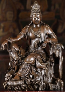 Bronze Laying Kwan Yin Statue 16