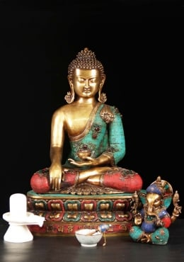 Brass Large Indian Buddha With Stones 24