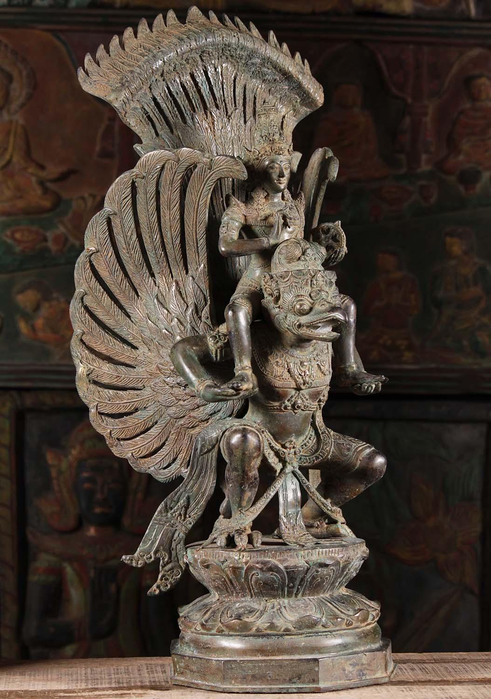 Sold Brass Vishnu Riding On The Shoulders Of Garuda 26