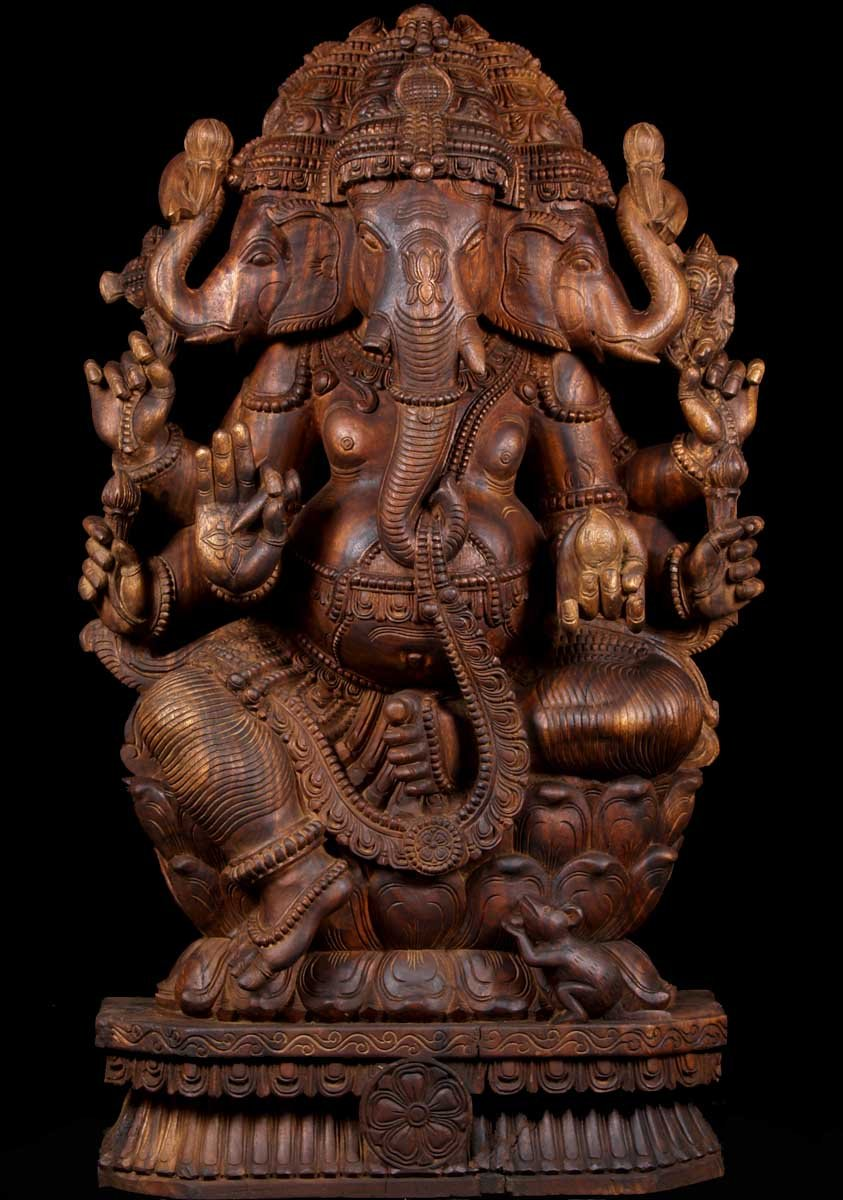 Sold Three Headed Ganesha Sculpture 48 Quot 59w21 Hindu
