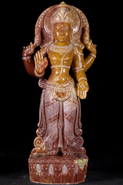 Red Marble Chandra Statue Hindu Moon God 16 Quot 30rm65