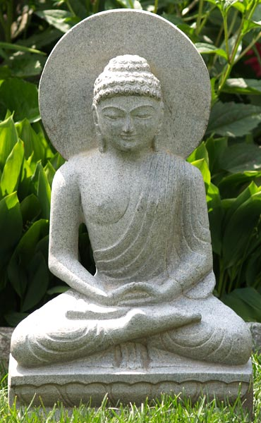 Sold Seated Buddha Statue With Halo Made From Black