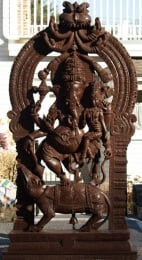 Wood Ganesh on Rat with Shakti 92