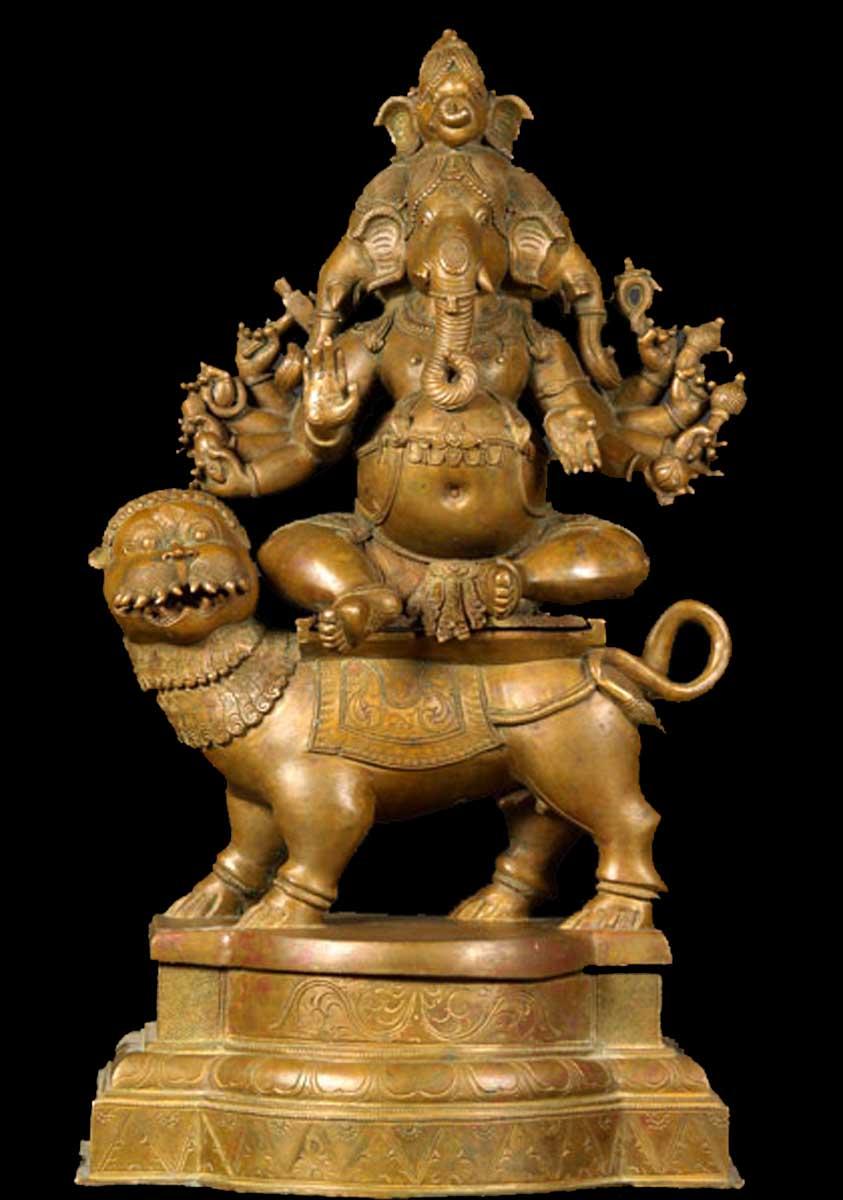 Sold Bronze Panchamukha Ganapati Lion 24 Quot 3b8 Hindu