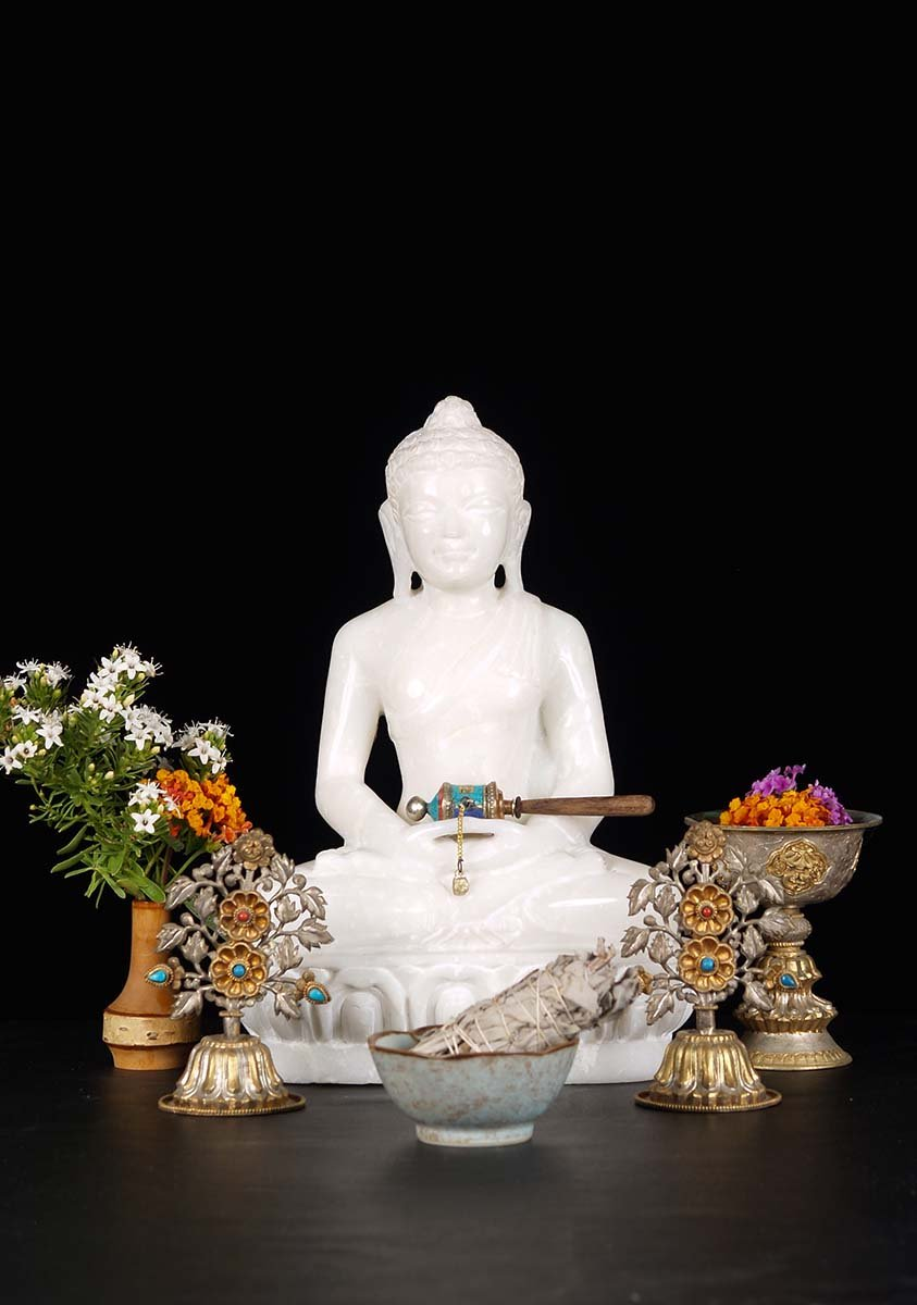 Sold Small White Marble Buddha Statue 12 Quot 71wm14c