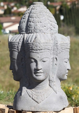 Stone 4 Faced Brahma Bust Sculpture 26